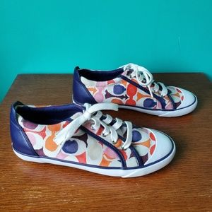 Coach Colorful Purple and Orange Sneakers Size 8.5